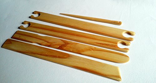 1.5'' Wide 4 Pk 14 Inch Long Weaving Stick Shuttles with Free Sword and Pick up Stick