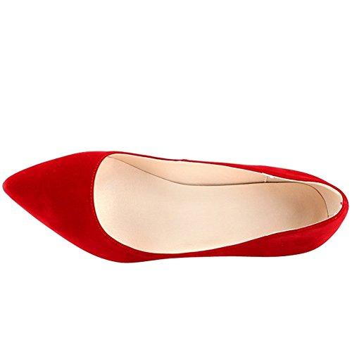 OCHENTA Mujer clasico Zapatos de tacon Resbalon en vestido de las bombas con los colores multi Rojo