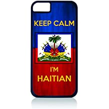 "Haiti Flag-""Keep Calm, I'm Haitian""- Case for the Apple Iphone 4-4s Universal-Hard Black Plastic Outer Shell with Inner Soft Black Rubber Lining"
