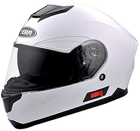 YEMA YM-831 Motorcycle Full Face Street Bike Helmet Dual Visor DOT (XL, White) - White Full Face Helmet