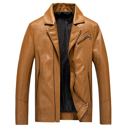 LUCAMORE Mens Classic Retro Leather Biker Jacket Blazer Trucker Biker Light Jacket Yellow (American Retro London)