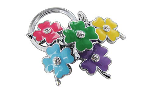 - Adorable & fun colorful 4-leaf clover-flower key chain with crystals on both sides. Made of chrome coated metal for long lasting bright colors and shine. Double sided.