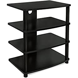 Mount-It! Media Stand Entertainment Center For TV, Audio Video Components, Stereo Equipment, Gaming Consoles, Streaming Devices, 4 Shelves, Black