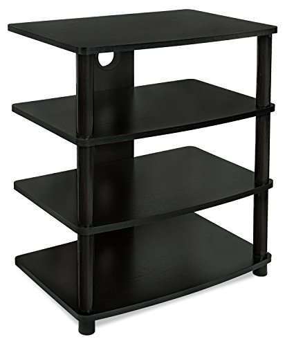 Electronics Tower Wall Entertainment Center (Mount-It! Media Stand Entertainment Center For TV, Audio Video Components, Stereo Equipment, Gaming Consoles, Streaming Devices, 4 Shelves, Black)