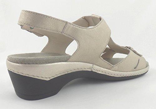 huge discount b5f15 3818d ... Semler Damen Sandale Heidi Komfort-Sandale Platin Leder Weite H ...