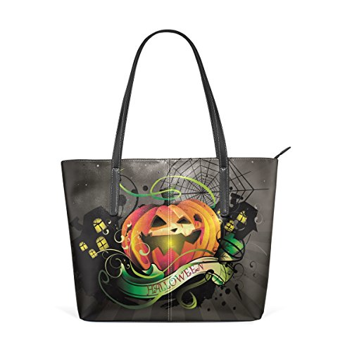 DEYYA Halloween Pumpkin Printing Top Handle Handbags Tote Bag Shoulder Bag for Women