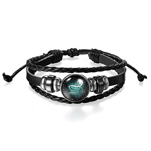 Young & Forever Men's Constellation Zodiac Luck Handmade Black Leather Bracelet Capricorn 1 by Young & Forever