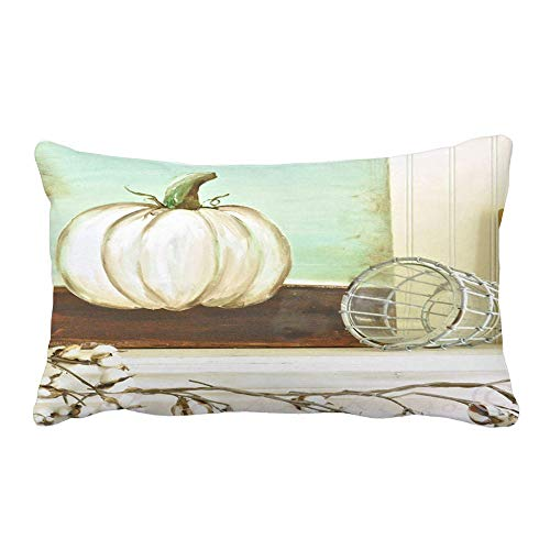 Hattfart Halloween Rectangle Throw Pillow Case Pumpkin Linen