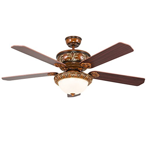 RainierLight Antique Ceiling Fan Lamp 5 Wood Blades Remote Control Led Light Chandelier for Bedroom/Living Room Mute Energy Saving (52inch) (Chandelier Light Structures Five)