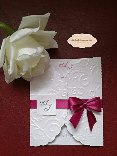 Partecipazioni Matrimonio Prezzi Bassi.Inviti Partecipazioni Matrimonio Carta Perlata Amazon It Handmade