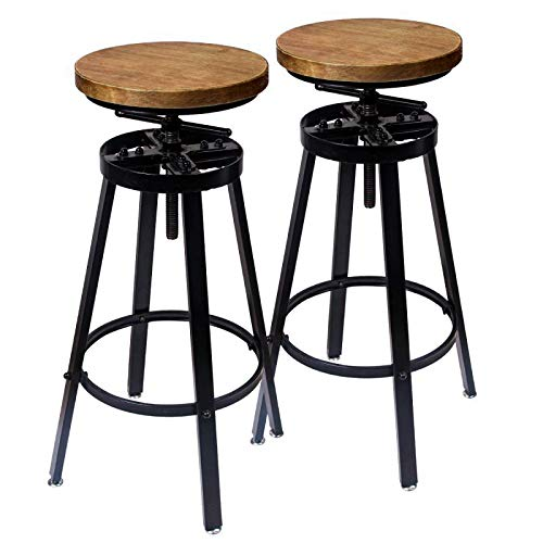 (GREMOBABALA Counter Height,Adjustable Black Metal Swivel Bar Stools/Chair - Contemporary Barstools Set of 2 for Bistro Pub Kitchen Coffee - Round Wood Seat)