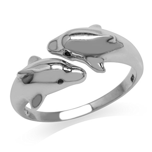 (White Gold Plated 925 Sterling Silver Twin Dolphin Bypass Fashion Ring Size 10 )