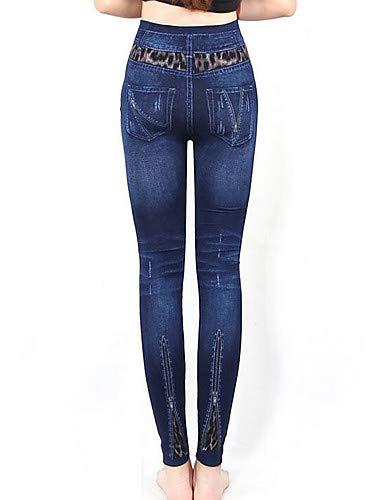 Azul Bloque Color Pantalones Vaqueros de YFLTZ Pitillo de Blue Talla única Mujer 8Cq7x
