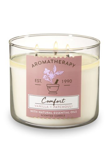 Bath and Body Works 3 Wick Scented Comfort Aromatherapy Candle Vanilla and Patchouli 14.5 Ounce with Natural Essential Oils Bath & Body Works
