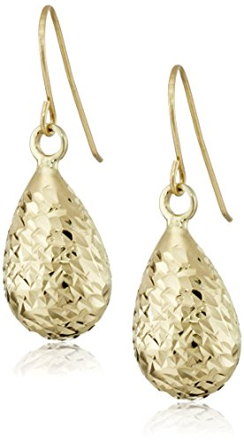 14k Yellow Gold Diamond-Cut Teardrop Earrings 14k Yellow Gold Teardrop Earrings
