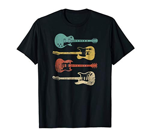 Vintage Electric Guitars T-Shirt Distressed Men Women Kids