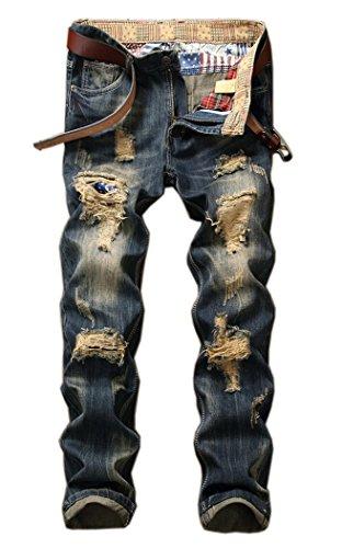 (Men's Distressed Destructed Slim Fit Jeans A928 Blue 31)