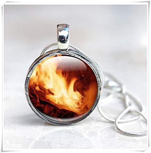 - Fire Necklace, Fire Flame Pendant Necklace, Wearable Art Pendant Necklace, Picture Photo Orange Black, Fantasy Art,