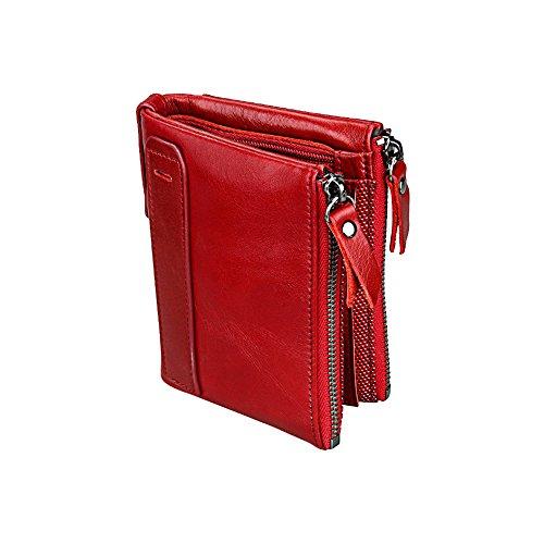 Leather Short Genuine (Artwell Men RFID Blocking Wallet Vintage Genuine Leather Short Purse Double Zip Bifold Wallet Money Clip Unisex (Red))