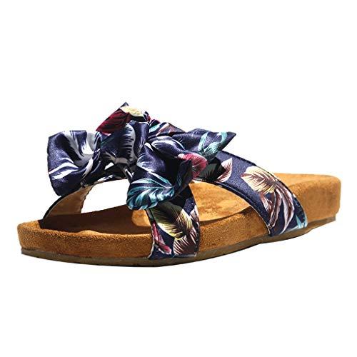Women's Slippers Dainzuy Bohemia Shoes Open-Toed Flats Fashion Roman Sandals Beach Vintage Lady Bohemian Bow Flat Black