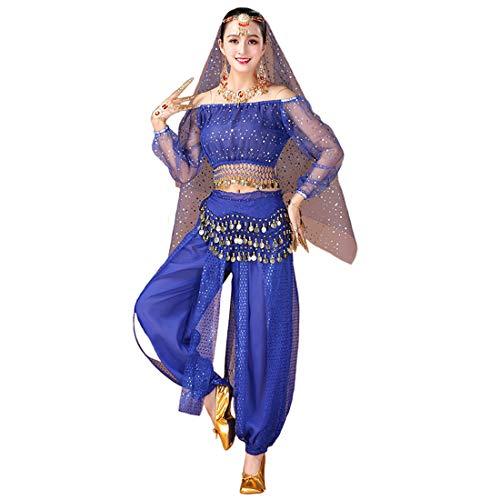 Maylong Womens Polka Dot Harem Belly Dance Halloween Costume Carnival DW59 (Royal Blue)]()
