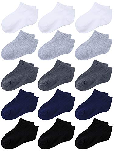 Coobey 15 Pack Kids' Half Cushion Low Cut Athletic Ankle Socks Boys Girls Ankle Socks (Black, White, Dark Gray, Gray, Navy Blue, 4-6 Years)