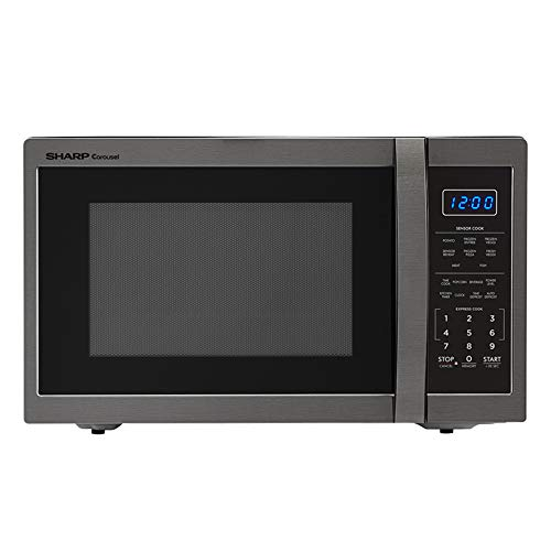 Sharp SMC1452CH 1.4 Cubic Foot Stainless Steel Microwave, Black (Certified Refurbished)