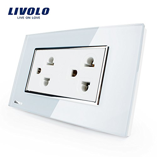 LIVOLO White US/AU Standard US Socket(15A),Tempered Glass Panel, AC 110~220V, Wall Powerpoints Without Plug, (220 Wall)