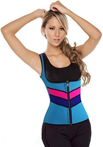 Yangjia Oblique Pattern Sports Burning Fat Shapewear Perspiration Body Shaper Vest With Front Zipper