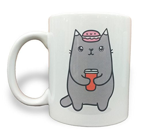 Cutest Kitty Cat with Coffee and Macaroon - 11 Ounce Ceramic Coffee Mug Pastel 11 Ounce Mug