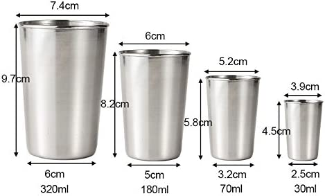 oobest 30//70//180//320 ml Tazas de Metal de Acero Inoxidable Picnic de Camping Vasos apilables Interior Uso en Exteriores