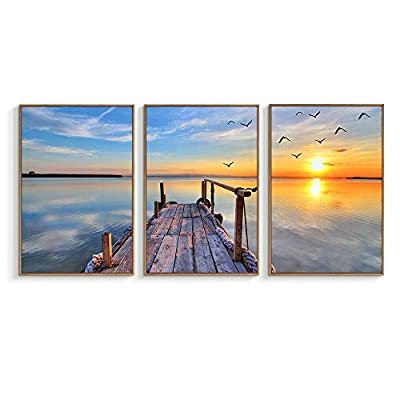 Beautiful Artistry, Made For You, Framed for Living Room Bedroom Beautiful Sunset for x3 Panels
