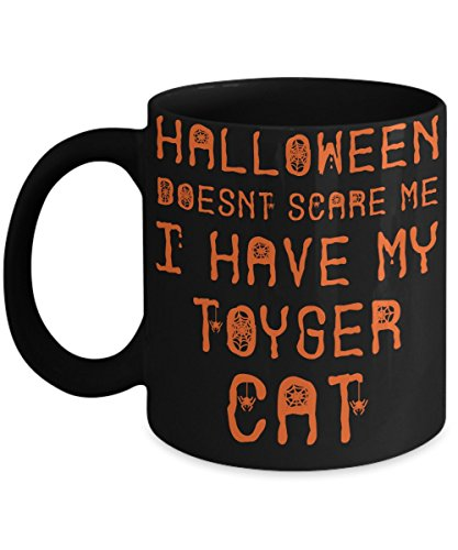 Halloween Toyger Cat Mug - White 11oz Ceramic Tea Coffee Cup - Perfect For Travel And Gifts -
