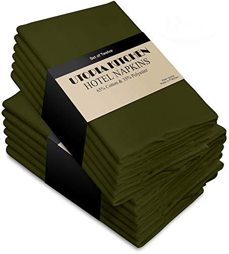 Utopia Kitchen Cloth Napkins, 12 Pack (18 x 18 Inches), Olive Cotton Dinner Napkin ()