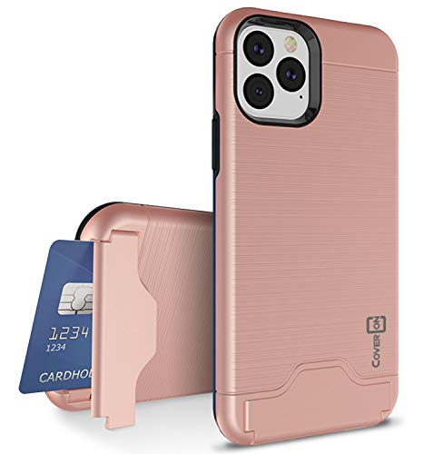 CoverON Protective Kickstand Credit Card Holder SecureCard Series iPhone 11 Pro Max Case (2019), Rose Gold