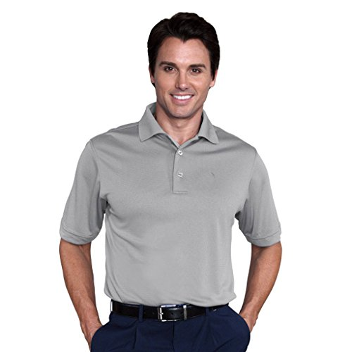 Monterey Club Mens Dry Swing Bamboo Charcoal Blend Texture Solid Dobby Shirt #1085 (Silver, Medium) (Tails Silver Bamboo Charcoal)
