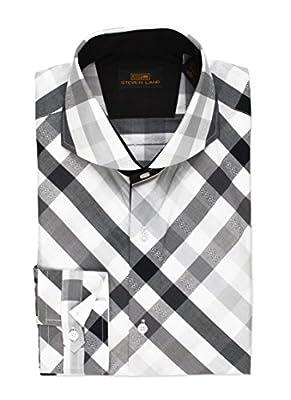 Steven Land French Cuff with Overlay Tab Dress shirt 100% Cotton Bais Cut Plaid Shirt