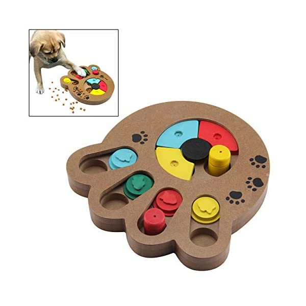 coldshine Dog Puzzle Toy Interactive Dog Toys Pet Dog Wooden Game IQ Training Toy Food Dispensing Puzzle Plate 2