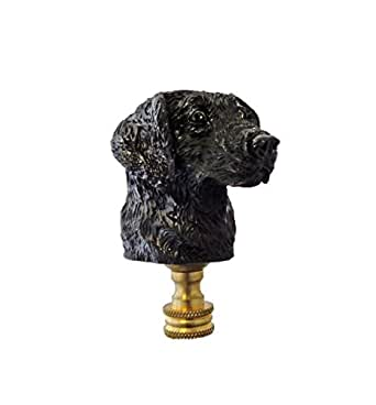 Lamp Finial - Black Lab Dog Head - Labrador Retreiver