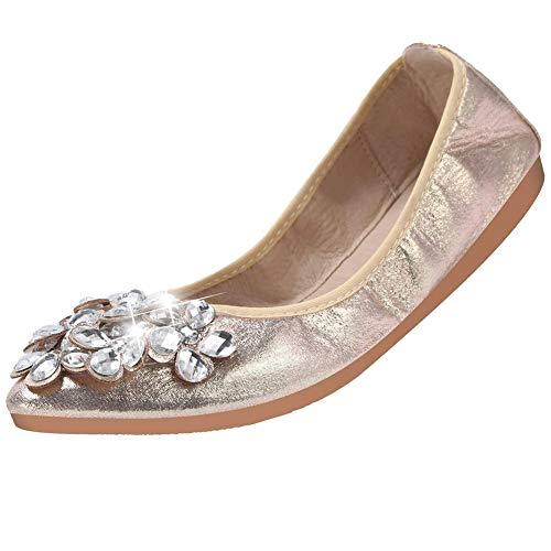 - Cattle Shop Foldable Ballet Flats for Women Rhinestone Slip On Flat Shoes