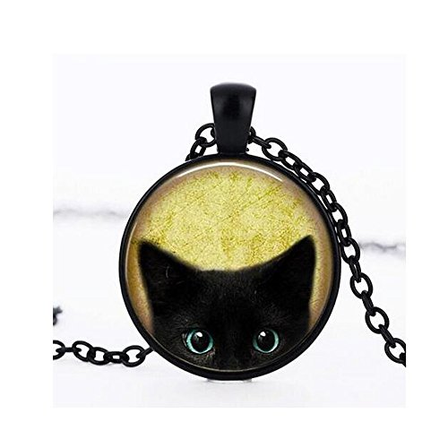 Adult Get Real Apple Costumes (Darkey Wang Woman Fashion Jewelry Retro Black Cat Time Gemstone Necklace (Black))