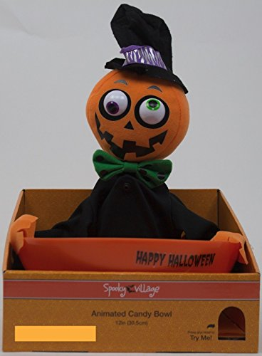 12 Inch Snapping Sam Animated Crazy Pumpkin Motion Activated Plush Candy Bowl - Halloween Phrases and (Crazy Halloween Candy)