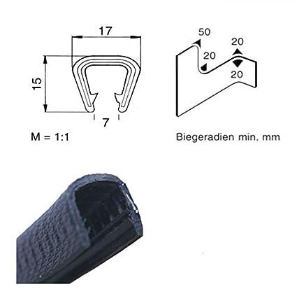 EUTRAS Kantenschutz 1218 5 m Kantenschutz 9-12 mm SCHWARZ U-Profil Keder Kederband Kantenschutzprofil Kantengummi