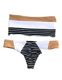EGELEXY Women Summer Off Shoulder Bikini Striped Beach Wear Swimwear Swimsuit