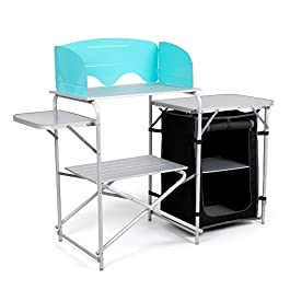 Laralinc Camp Kitchen Table for Portable Camping with Windscreen,Carrying Bag – Light Folding Aluminum – Cook Station…