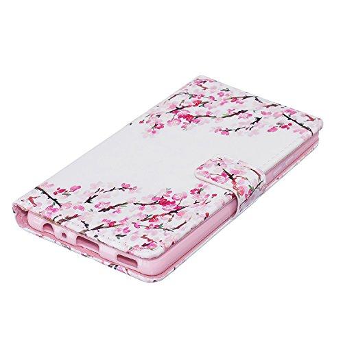 AllDo Funda Huawei P9 LITE (con un protector de pantalla gratuito) Carcasa de PU Cuero con Soporte para Huawei P9 LITE Funda Cartera Carcasa Protectora Flip Wallet Case Cover Bumper Funda Blanda Suave Flores Rosadas