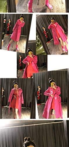 SANJIBAO Veste en Cuir (4 Couleurs) Longue Cape en Cuir Verni Brillant en Cuir Femme Mode Trench Coat Simple Boutonnage,Rose,S