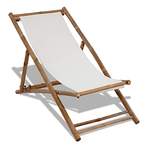 Festnight Outdoor Patio Garden Wood Chaise Lounge Chair, Bamboo Deck Chair with Canvas