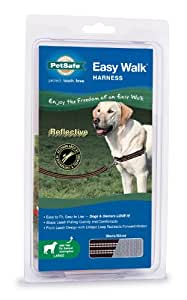 PetSafe Reflective Easy Walk Dog Harness, Large, Black/Silver