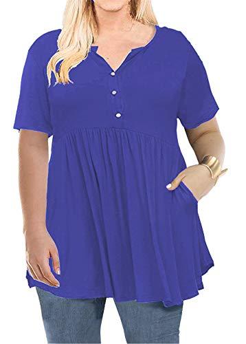 Ruffle Hem Top for Womens V Neck Short Sleeve Casual Blouse Royal Blue 3XL